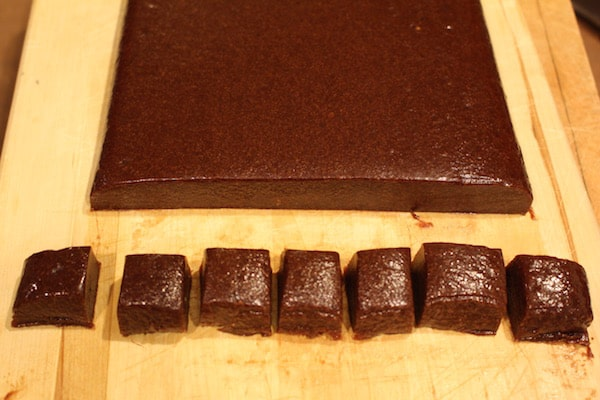 Dump the caramels out of the pan and cut them into one-inch squares.