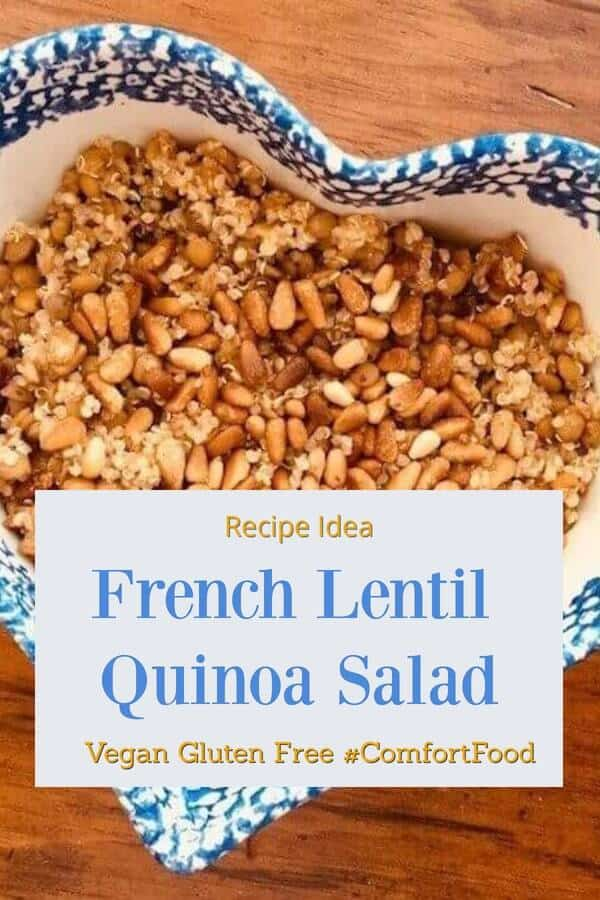 French Lentil Quinoa Salad Recipe. SO good. Add an egg on top and it's even better! #frenchlentilquinoasalad #frenchlentils #lentilrecipes #vegan #glutenfree #comfortfood #recipes #recipeideashop