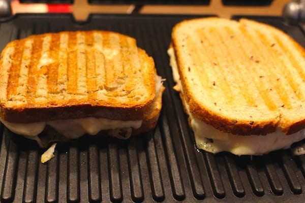 Here they are! A Gluten Free Portabella Reuben Sandwich and Wheat Bread Portabella Reuben Sandwich grilling on the Cuisinart Griddler. Almost done.