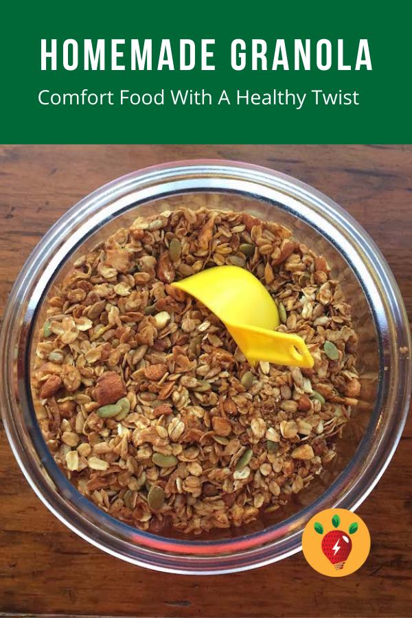 Homemade Granola with cinnamon, ginger and a bit of lemon. #HomemadeGranola #Granola #GlutenFree #ComfortFood #HealthyTwist #Nourish #CookAtHome #recipes #RecipeIdeaShop