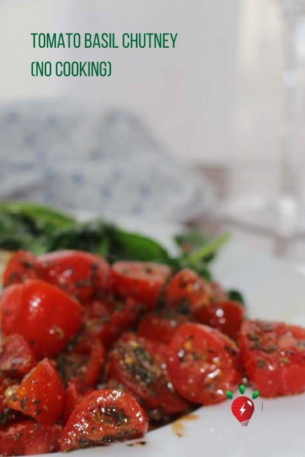 This Tomato Basil Chutney takes 15 minutes and it's divine! #TomatoBasilChutney #TomatoChutney #GlutenFree #Recipes #HealthyTwist #RecipeIdeaShop