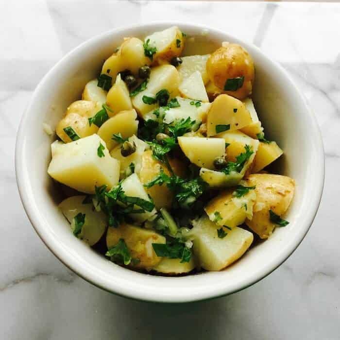 French Potato Salad is a vinaigrette-based salad. No mayo!