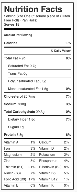 "Gluten Free Rolls Nutrition Label. Each serving is one 3"" square."