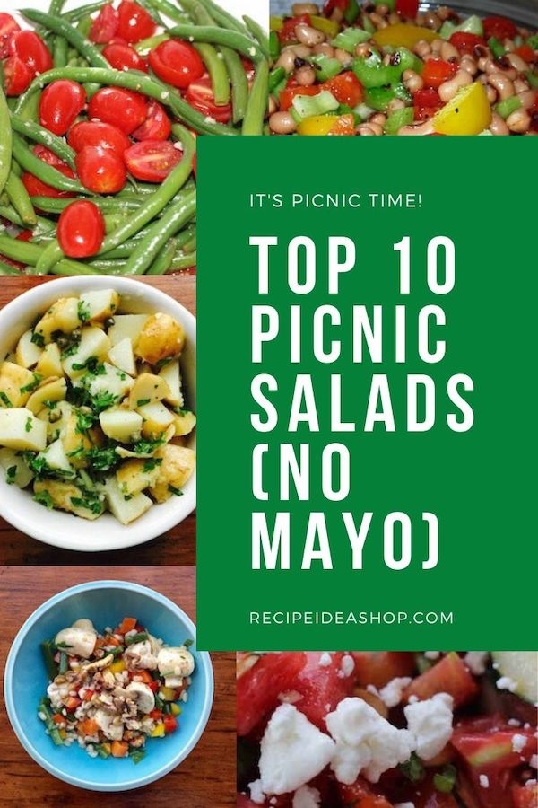Top 10 Picnic Salads with no mayonnaise. And they are SO good. #top10picnicsalads #picnicfoods #saladrecipes #recipes #comfortfood #food #health #recipeideashop