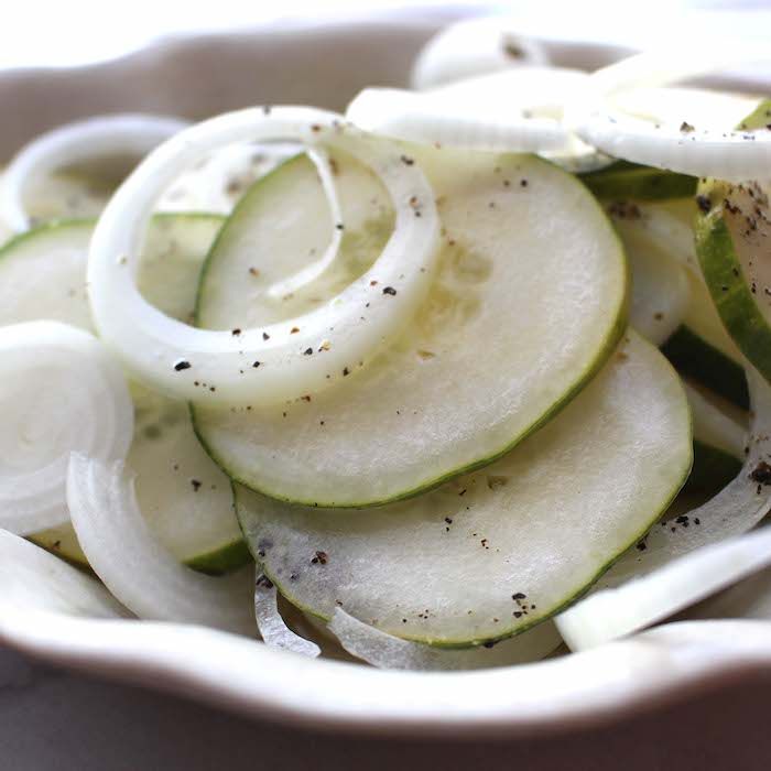 Cucumber and Onion Salad will delight the senses.
