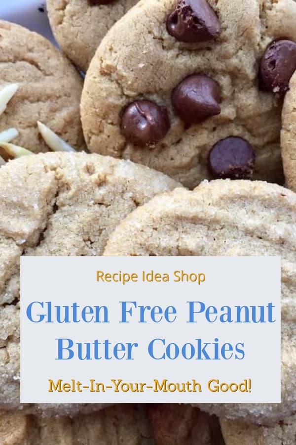 Homemade Gluten Free Peanut Butter Cookies are so good you won't want to share. And you shouldn't have too. Just tell them they are gluten free #homemadepeanutbuttercookies #peanutbuttercookiesrecipe #cookies #glutenfree #dessertrecipes #recipes #recipeideashop.
