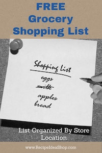 FREE Printable Grocery Shopping List. Subscribe to Smell the Coffee newsletter. (Click on Picture)
