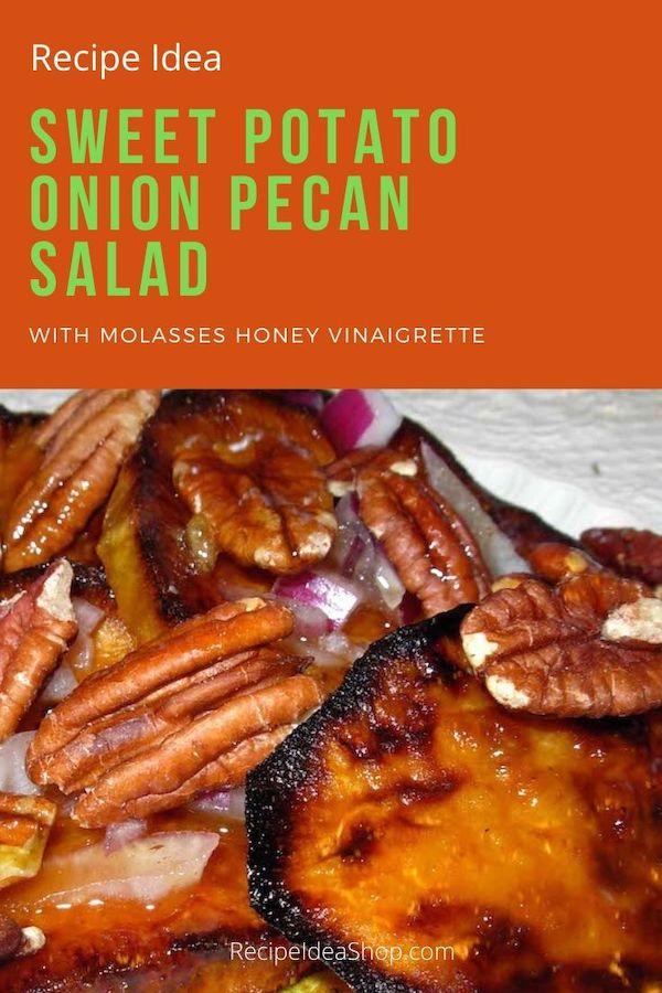 Sweet Potato Onion Pecan Salad. Simple and amazing. #SweetPotatoSalad #SweetPotatoes #salads #picnicfood #comfortfood #glutenfree #vegan #cookathome #recipes #recipeideashop