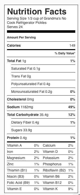 Grandma's No Cook Refrigerator Pickles Nutrition Label (1 serving = 1/3 cup)