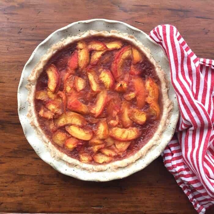 Fresh Peach Pie made with Sweet Gluten Free Pie Crust