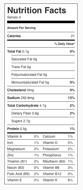 Cucumber and Onion Salad with Vinegar Dressing Nutrition Label. Each serving is about 1/4 cup.
