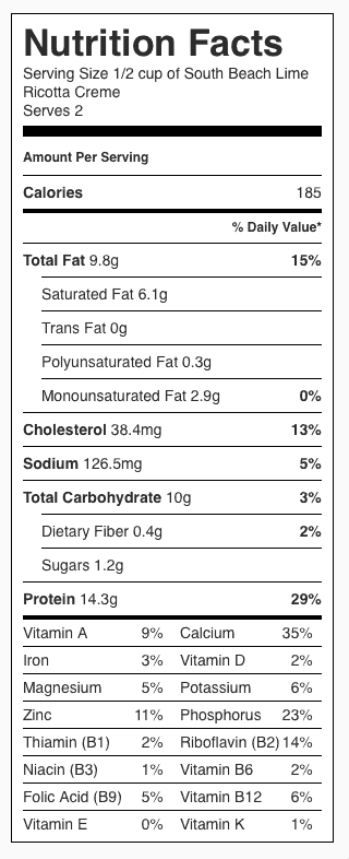 South Beach Lime Ricotta Creme Nutrition Label. Each serving is 1/2 cup.