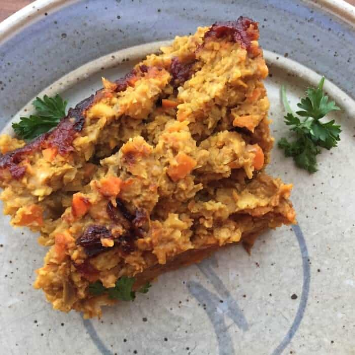 "This Vegetarian Chickpea ""Meatloaf"" with Indian Spices can easily be vegan."