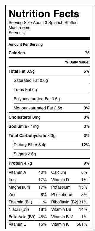 Spinach Stuffed Mushrooms Nutrition Label. Each serving is about 3 mushrooms.