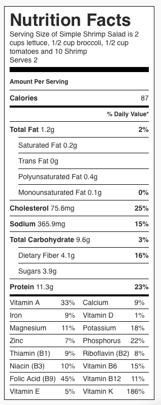 Simple Shrimp Salad Nutrition Label. Each serving is 1/2 the recipe and DOES NOT include dressing.