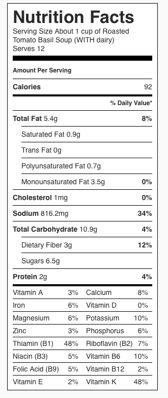 Nutrition Label for Tomato Basil Soup WITH Dairy. Each serving is about 1 cup.