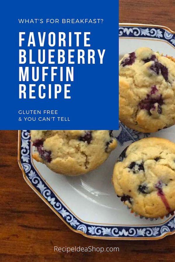 My Favorite Blueberry Muffin recipe is gluten free. And so moist. #favoritebluteberrymuffin #blueberryrecipes #muffins #glutenfree #comfort food #food #recipes #recipeideashop