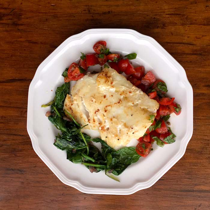Isn't this Sautéed Cod Fish with Tomato Basil Chutney and Sautéed Spinach pretty? And it's really GOOD.