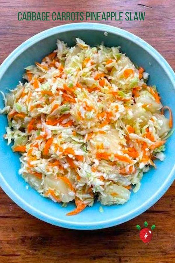 Cabbage Carrots & Pineapple. Oh my! 15 minutes! #CabbagePineappleSlaw #PineappleColeslaw #NoMayo #GlutenFree #Recipes #HealthyTwist #RecipeIdeaShop