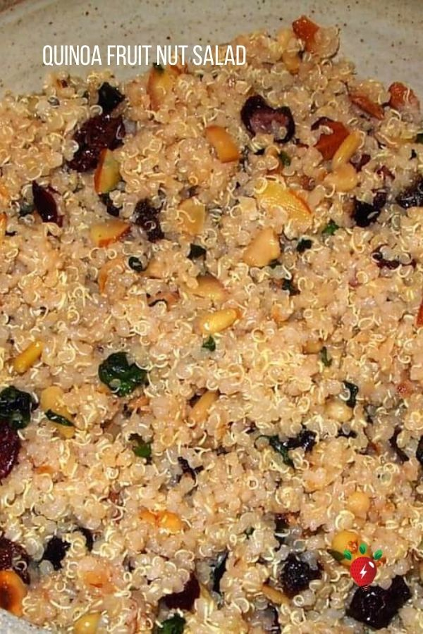 Quinoa Fruit & Nut Salad is a luscious way to eat protein. You won't be hungry for hours after eating this amazing salad. #QuinoaFruitNutSalad #Quinoa #SaladRecipes #HealthyTwist #GlutenFree #Recipes #RecipeIdeaShop