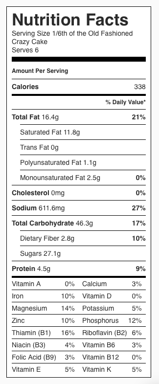 Crazy Cake Depression Cake Nutrition Label. Each serving is 1/6 the cake.
