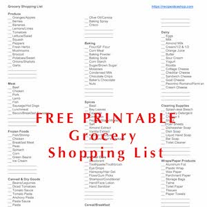 Subscribe to our newsletter for a free printable shopping list.