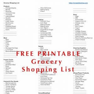 Free Printable Grocery Shopping List, arranged by store location