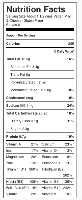 Vegan Mac Cheese Nutrition Label. Each serving is about 1 1/2 cups.