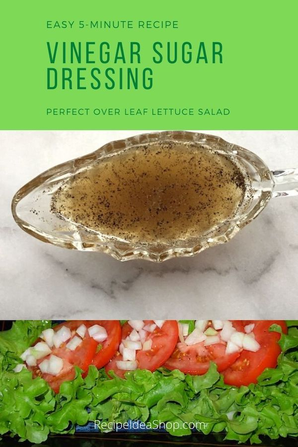 Simple Vinegar Sugar Dressing Recipe. 4 ingredients. 5 minutes. #vinegardressing #saladdressing #easyrecipes #springsalad #recipes #glutenfree #recipeideashop