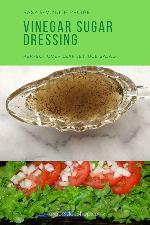 Simple Vinegar Sugar Dressing Recipe. 4 ingredients. 5 minutes. #vinegardressing #saladdressing #easyrecipes #springsalad #recipes #glutenfree #recipeideashop