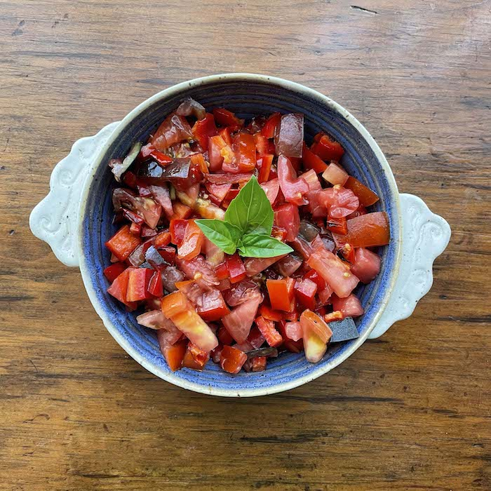 Tomato Red Pepper Salad. Excellent side dish.