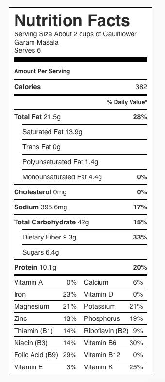 Cauliflower Garam Masala Nutrition Information. Each serving is about 2 cups.