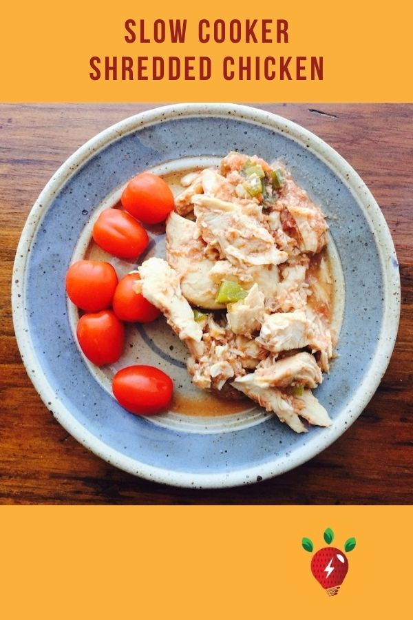 Slow Cooker Shredded Chicken. Perfect for tacos. 10 min active. #slowcookershreddedchicken #shreddedchicken #chickenrecipes #recipes #glutenfree #recipeideashop