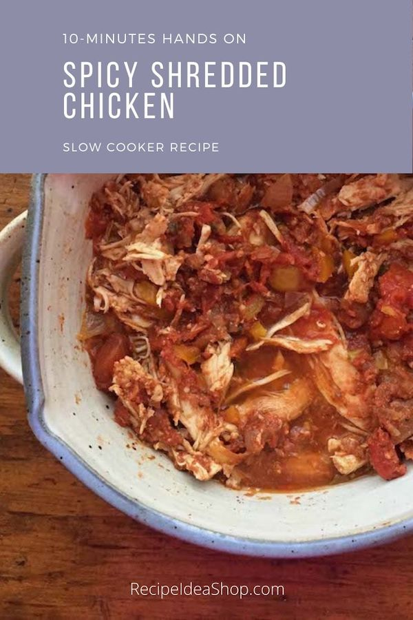 Slow Cooker Spicy Shredded Chicken. Pow! So good. #spicyshreddedchicken #tacochicken #shreddedchicken #slowcooker #crockpot #chicken #recipes #glutenfee #comfortfood #food #health #recipeideashop