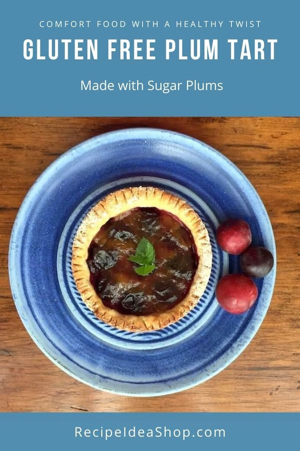 Simple, Easy Plum Tart Recipe with Gluten Free Crust. It's so good made with sugar plums. #plumtartrecipe #glutenfree #desserts #comfortfood #recipeideashop