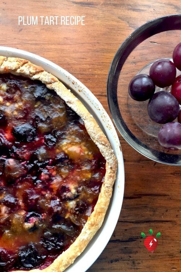 Sugar plums make an awesome Plum Tart with a gluten free crust. Get #recipeideashop's recipe. #PlumTartRecipe #sugarplums #tart #desserts #glutenfree #healthytwist #recipes #recipeideashop