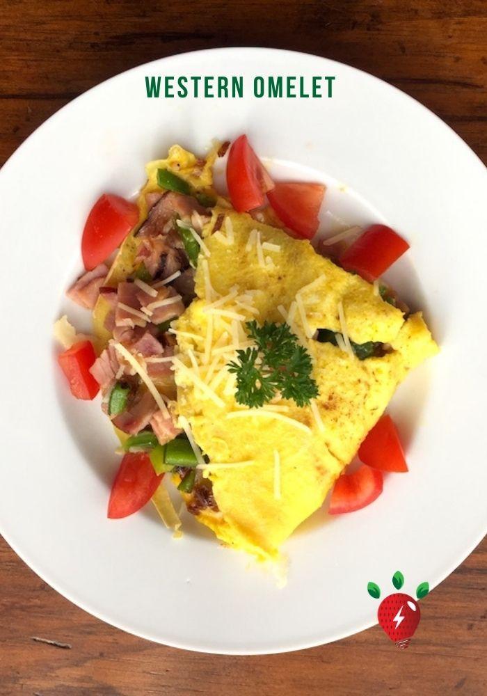 Western/Denver Omelet. Easy. And tasty. #WesternOmelet #DenverOmelet #Omelet #Omelette #Eggs #Breakfast #Recipes #HealthyTwist #RecipeIdeaShop