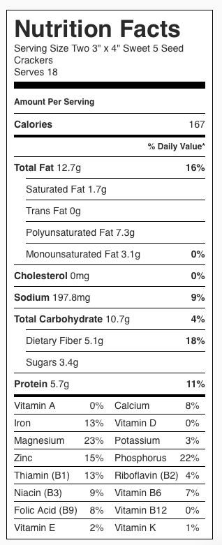 "Sweet Five Seed Crackers Nutrition Label. Each serving is two 3"" x 4"" crackers."