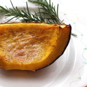 Baked Acorn Squash with salt, pepper and butter (or oil).