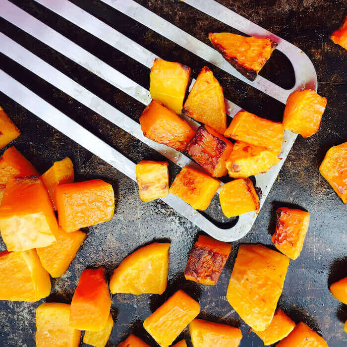 Roasted Butternut Squash tastes great hot, cold or room temperature. Try it on a salad for an extra special treat.