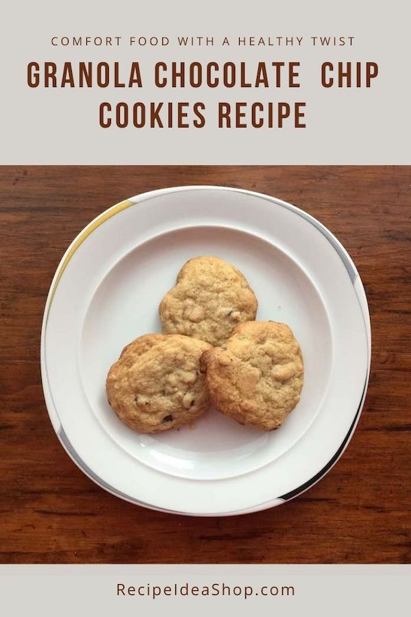 Granola Chocolate Chip Cookies are chewy AND crunchy gluten free treats. #granolachocolatechipcookies #cookies #cookierecipes #recipes #desserts #glutenfree #recipeideashop