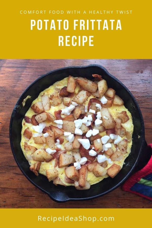 Potato Fritta. Oh, yum! Such an easy way to make an omelet. #potatofrittata #frittata #Italianomelet #breakfast #eggs #recipes #glutenfree #comfortfood #recipeideashop
