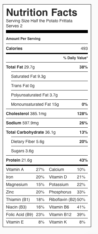 Potato Frittata Nutrition Label. Each serving is half the recipe, or two wedges.