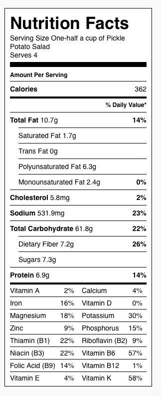 Pickle Potato Salad Nutrition Label. Each serving is about one-half cup.