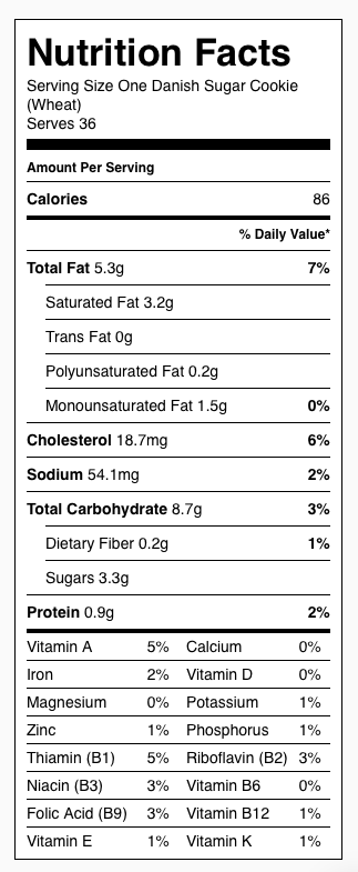 Danish Sugar Cookie (Wheat) Nutrition. Each serving is one cookie.