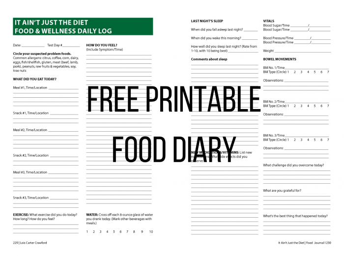 Free Printable Food Log Diary