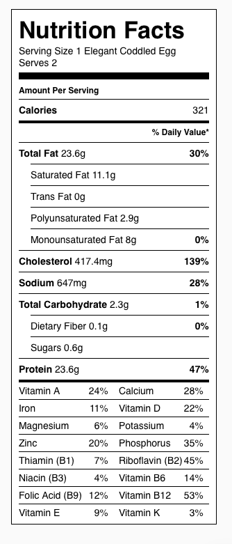 Elegant Coddled Eggs Nutrition Label. Each serving consists of 2 eggs, 1/2 piece of bacon, and 1 tablespoon cheese. Save a few calories (all fat) using Canadian bacon instead of regular bacon.