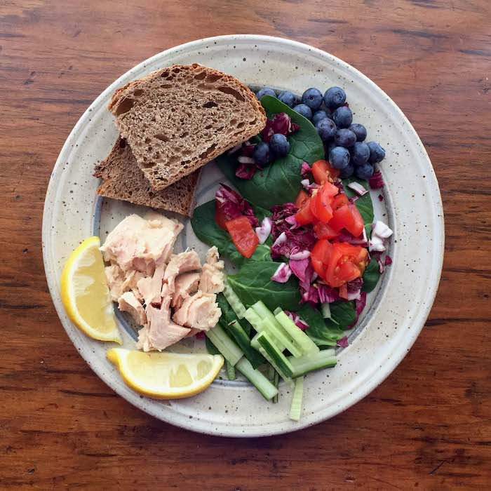 The Plate Method of Measurement: Fill one-half with fruits and vegetables; one-quarter with lean meat or fish; and one-quarter with whole grains.
