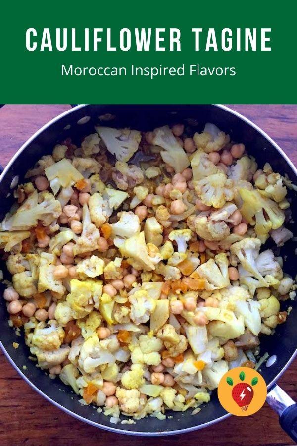 Cauliflower Tagine. Moroccan-inspired flavors. Low cal. Vegan. Delish! #CauliflowerTagine #Moroccan #Recipes #GlutenFree #Vegan #RecipeIdeaShop