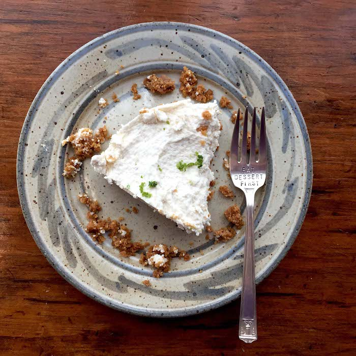 Slice of Key Lime Pie with Graham Cracker Crust